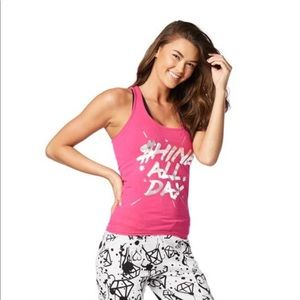 NWT Zumba Shine All Day Racerback Tank Top